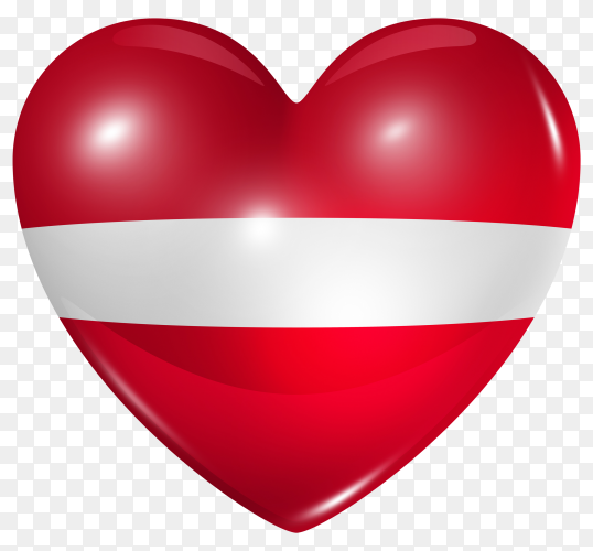 Latvia flag in heart shape on transparent background PNG