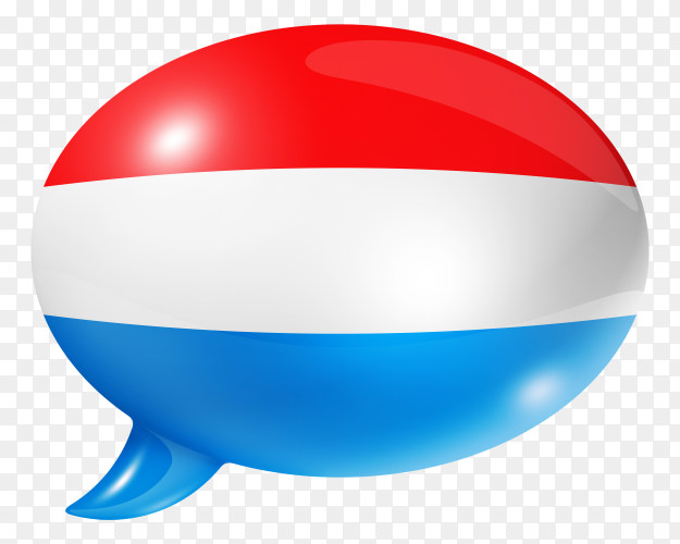 Luxembourg flag shaped speech bubble on transparent background PNG