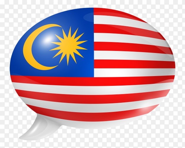 Malaysian flag shaped speech bubble on transparent PNG