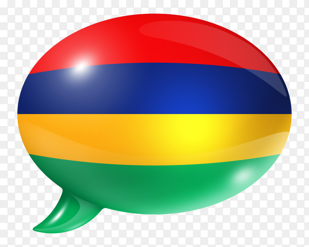 Mauritius flag shaped speech bubble on transparent PNG