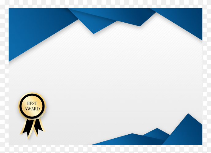 Modern blue certificate achievement template on transparent background PNG