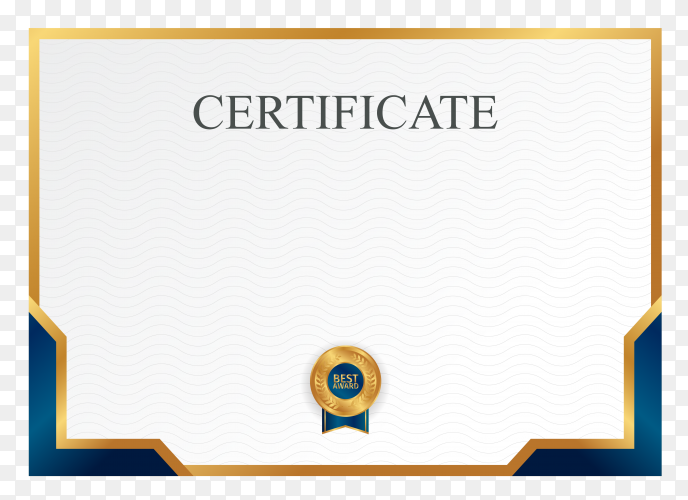 Modern gold certificate achievement template with badge on transparent background PNG