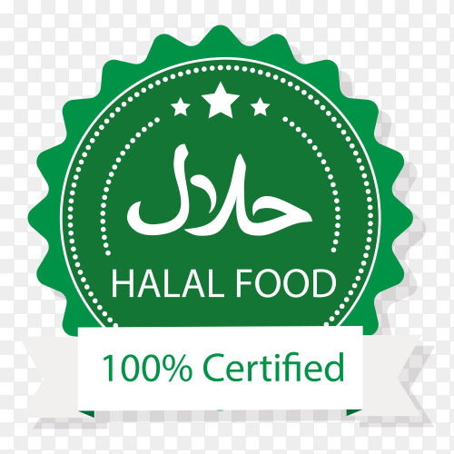 Modern halal stamp with flat design on transparent background PNG