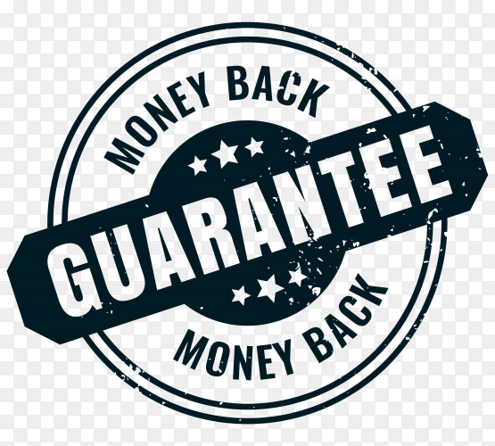 Money back guarantee rubber label stamp seal on transparent background PNG