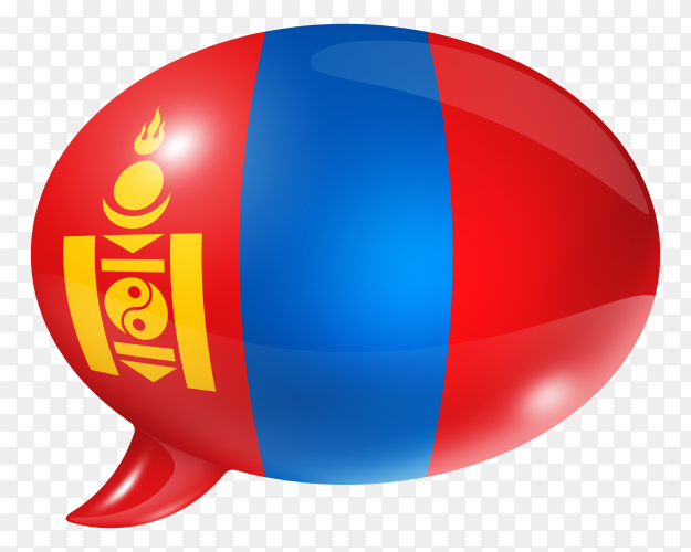 Mongolia flag shaped speech bubble on transparent background PNG