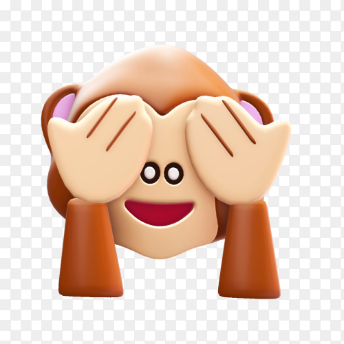 Monkey Emoji Covering Your eyes on transparent background PNG