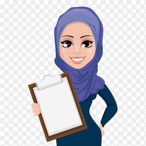 Muslim business woman character holding clipboard on transparent background PNG