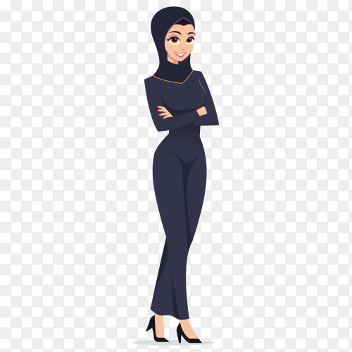 Muslim business woman character on transparent background PNG