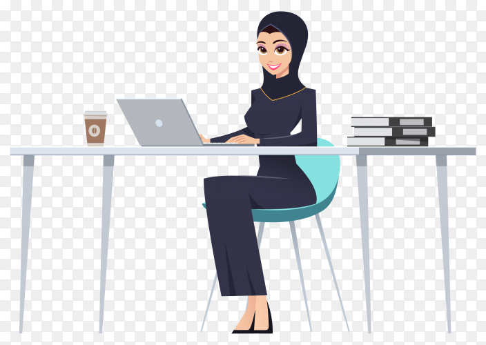 Muslim businesswoman sitting at table and using laptop computer Woman in long black dress and hijab on transparent background PNG