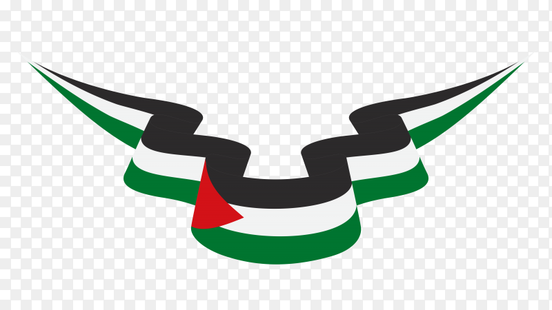 National flag of Palestine on transparent background PNG