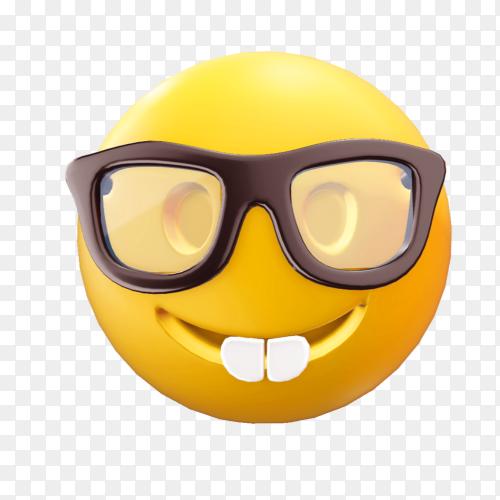 Nerd face emoji on transparent background PNG