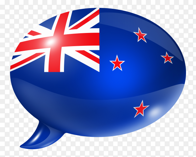 New Zealand flag shaped speech bubble on transparent background PNG