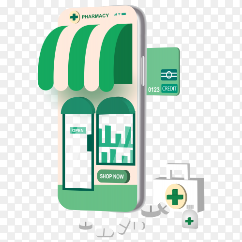 Online pharmacy shopping with smartphone concept on transparent background PNG