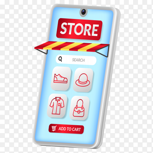 Online shopping app on the 3d smartphone perspective with red outline fashion icon on transparent background PNG