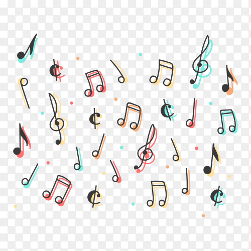 Pack of colored musical notes on transparent background PNG