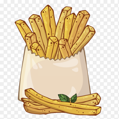 Packed potatoes french fries on transparent background PNG