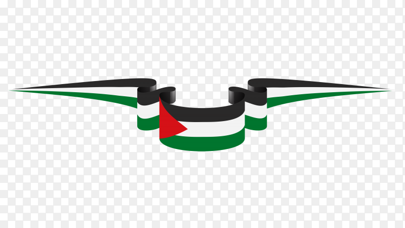 Palestine flag template on transparent PNG