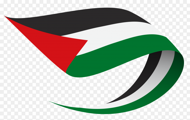 Palestine flag waving on transparent background PNG