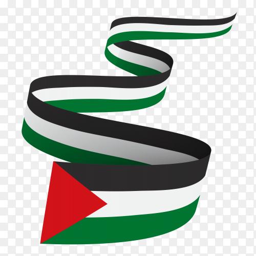 Palestine flag waving premium vector PNG