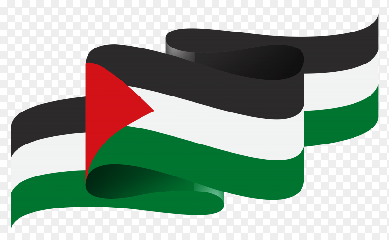 Palestine national flag isolated on transparent background PNG
