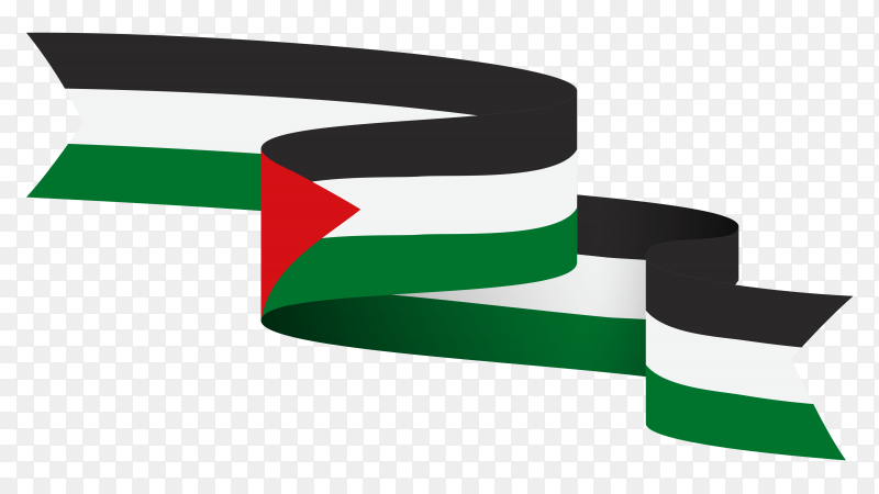 Palestine national flag on transparent background PNG