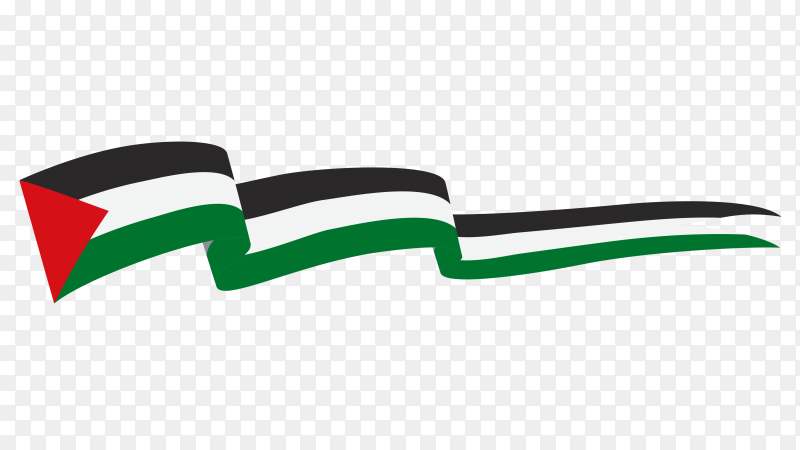 Palestine waving flag isolated on transparent PNG