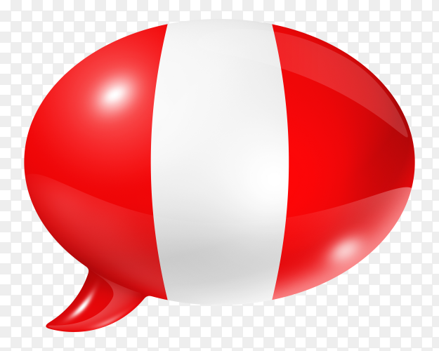 Peru flag – Peruvian flag shaped speech bubble on transparent PNG