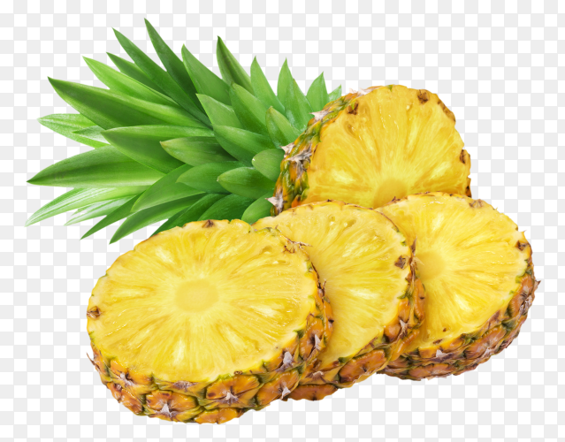 Pineapple in a piece round shape  on transparent background PNG