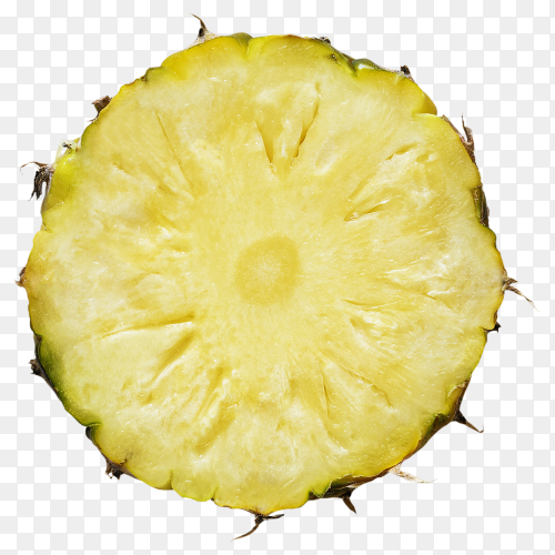 Pineapple in a piece round shape with peel on transparent background PNG
