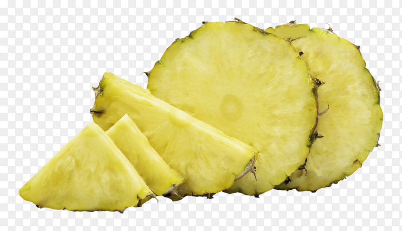 Pineapple in a piece round shape with peel on white isolated on transparent background PNG