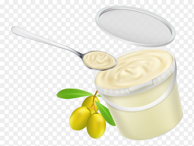 Plastic pail filled with mayonnaise and twig with olives on transparent background PNG
