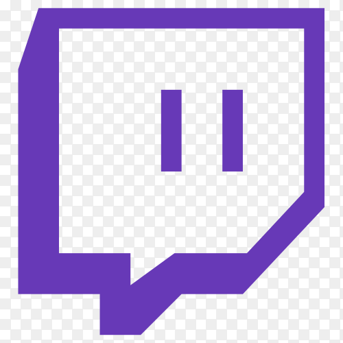 Purple Twitch icon on transparent background PNG