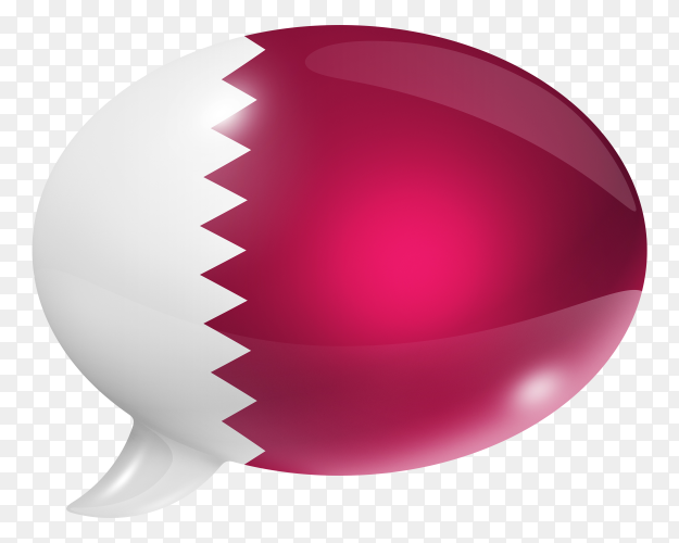 Qatar flag shaped speech bubble on transparent background PNG