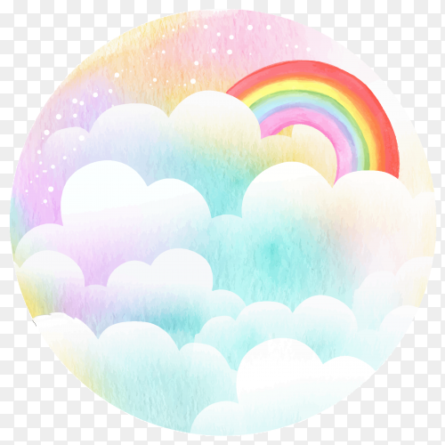 Rainbow with clouds on transparent background PNG