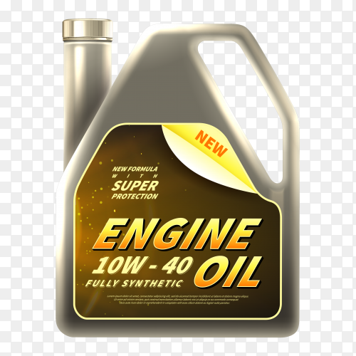 Realistic Engine oil ads on transparent background PNG