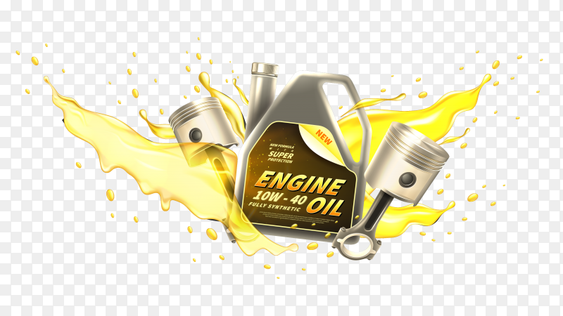 Realistic Engine oil car ad on transparent background PNG
