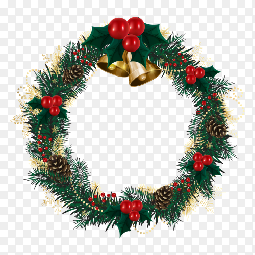 Realistic Christmas wreath concept premium vector PNG