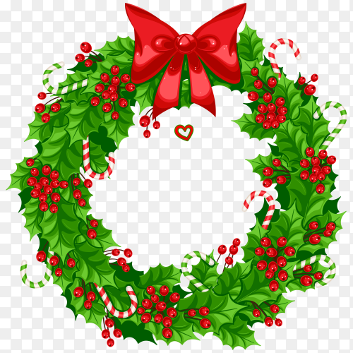 Realistic Christmas wreath template premium vector PNG