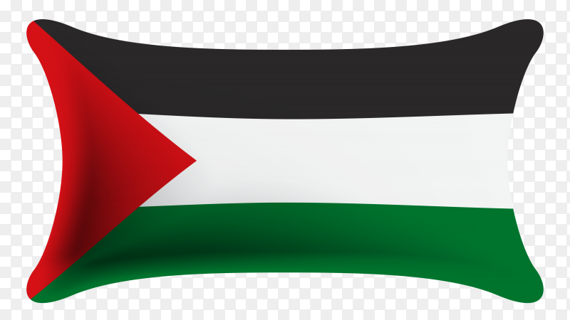 Realistic flag of Palestine on transparent background PNG