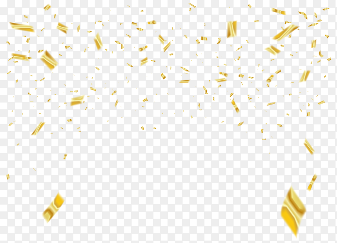 Realistic golden confetti on transparent background PNG