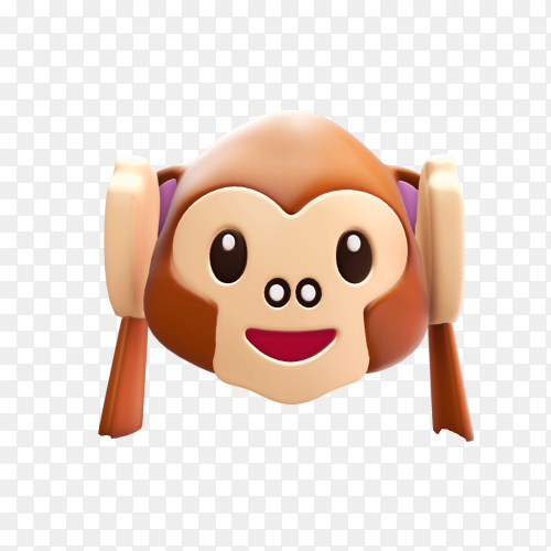 Realistic monkey emoji on transparent background PNG