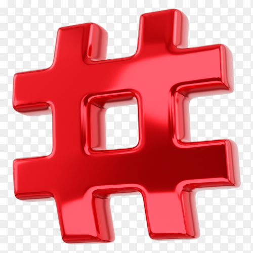 Red Hashtag symbol on transparent background PNG