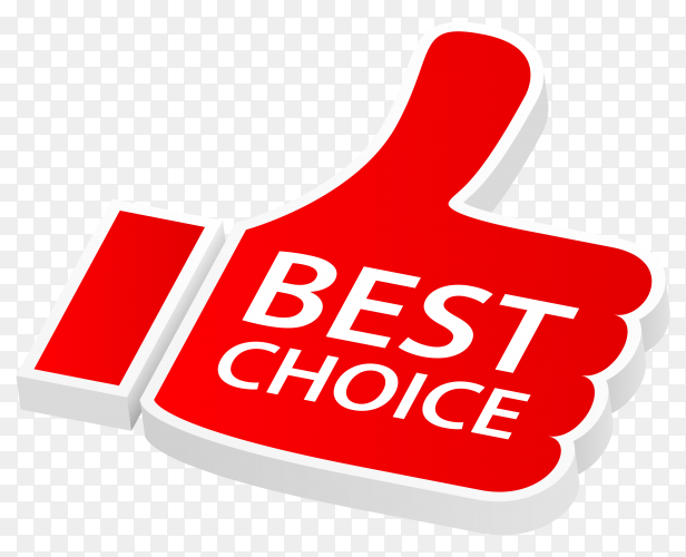 Red best choice with thumbs up on transparent background PNG