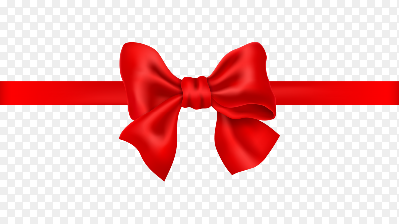 Red gift ribbon and bow isolated on transparent background PNG