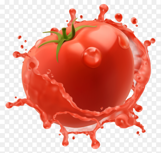 Red tomato with juice or ketchup splash isolated on transparent background PNG