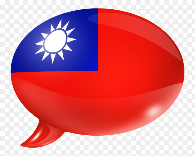 Republic of China flag shaped speech bubble on transparent background PNG