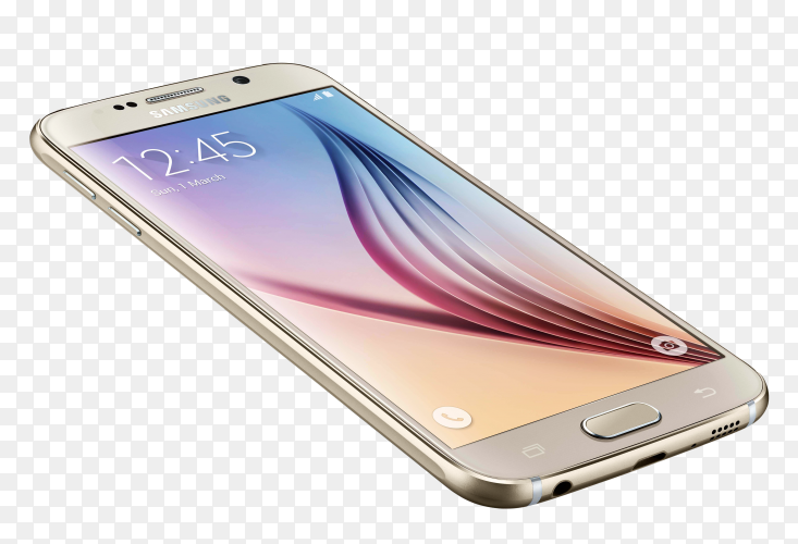 Samsung smartphone isolated on transparent background PNG