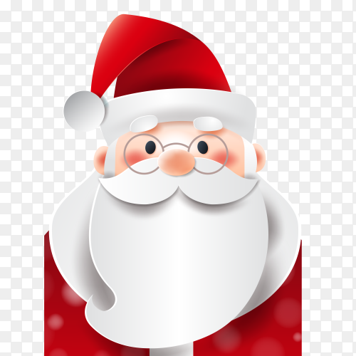 Santa claus character illustration on transparent background PNG