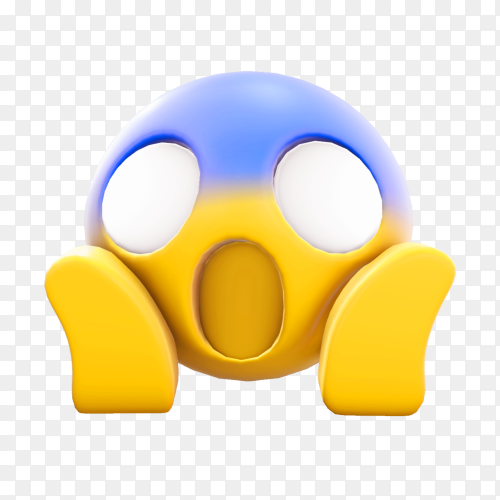 Scream face emoji on transparent background PNG