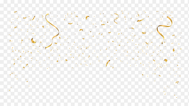 Shiny golden confetti premium vector PNG